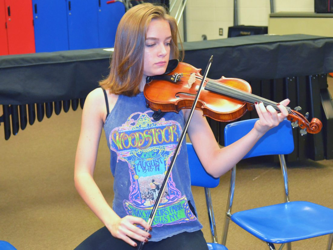 T-R PHOTO BY SARA JORDAN-HEINTZ Eve Nettesheim, 16, a junior at Marshalltown High School, is on track to graduate from high school next spring. She is passionate about the violin and is interested in neuroscience. She would like to be a psychiatrist when she's older, so she can be an ally for people with mental health issues, noting her first-hand experience with anxiety.