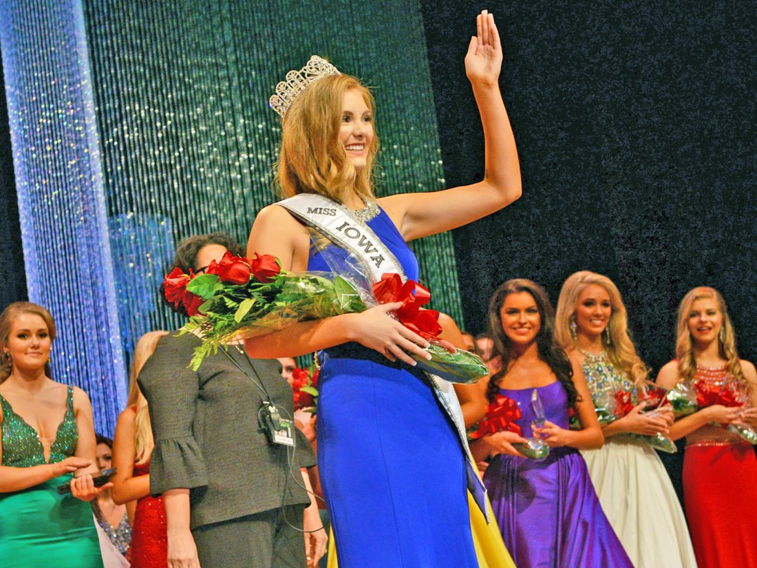 CONTRIBUTED PHOTO Isabella Russell, 17, a senior at Marshalltown High School, was crowned Miss Iowa Teen USA 2018 in a competition held at the Newton High School Auditorium over the weekend. She will compete at the national level next summer. She is interested in becoming a marine biologist someday.