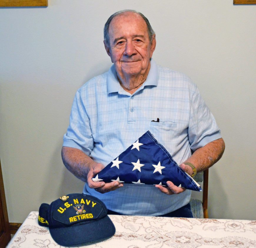 T-R PHOTO BY SARA JORDAN-HEINTZ dale F. Hicks, 89, of Marshalltown, spent nearly 30 years in the U.S. Navy, first stationed in China during World War II, the Philippines during peace time, the United States and Greenland during the Korean War, and later, two decades in the U.S. Navy Reserve.