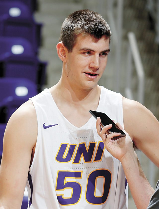AP PHOTO • Northern Iowa freshman Austin Phyfe is interviewed during Northern Iowa men's basketball media day Wednesday at the McLeod Center in Cedar Falls.