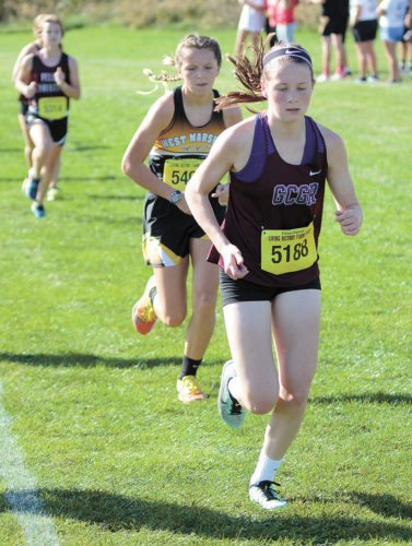 PHOTO BY TROY HYDE/NEWTON DAILY NEWS • Lily Ehlers of Grundy Center/Gladbrook-Reinbeck leads West Marshall's Avril Sinning along the course at Pella's Class 2A state-qualifying meet on Thursday.