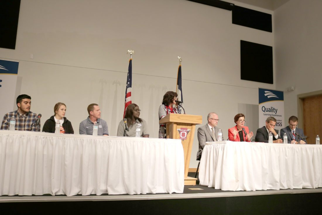 Gov. Kim Reynolds sat down with a panel of Marshalltown students and business leaders to discuss the Future Ready Iowa initiative. From left: Marshalltown High School senior Brandon Avalos, MHS senior Sarah Jacobs, Marshalltown Community College non-traditional student Sam Campbell, MCC Student Body President Adiu Arou, moderator and Iowa Workforce Development Director Beth Townsend, Fisher Controls VP of Engineered Products Ross Harris, Reynolds, Principal Financial Group President and CEO Dan Houston and Lt. Gov. Adam Gregg.