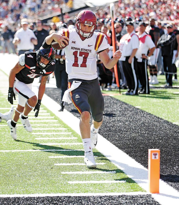 AP PHOTO • Iowa State's Kyle Kempt eyes the goalline after stepping out of bounds during the first half of a Big 12 Conference football game against Iowa State, Saturday at Jones AT&T Stadium in Lubbock, Texas.