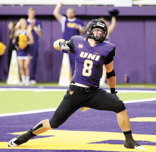 AP PHOTO • Northern Iowa's Marcus Weymiller celebrates a touchdown against Youngstown State during the first half of Saturday's football game at the UNI-Dome in Cedar Falls.