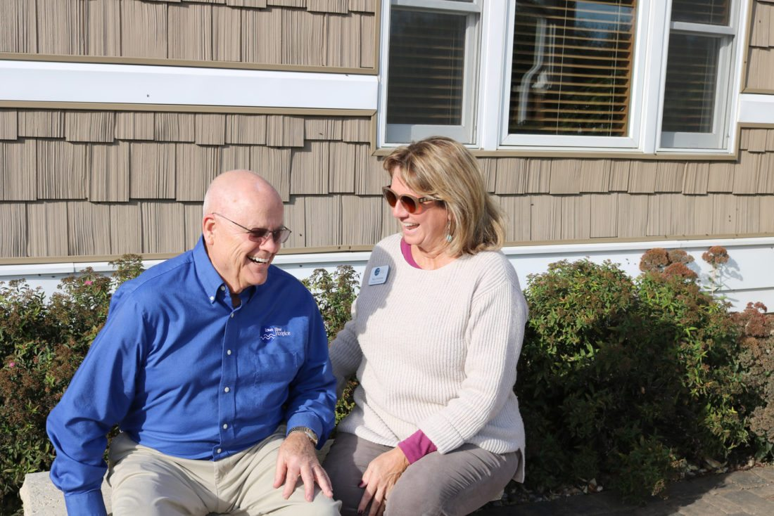 T-R PHOTO BY ADAM SODDERS Iowa River Hospice volunteer Fred Haynes keeps a positive outlook on life and loves to laugh.  He said helping bring comfort to those whose time on Earth is coming to an end brings him great joy. Haynes is currently working with his 100th patient and has been a hospice volunteer for 20 years.
