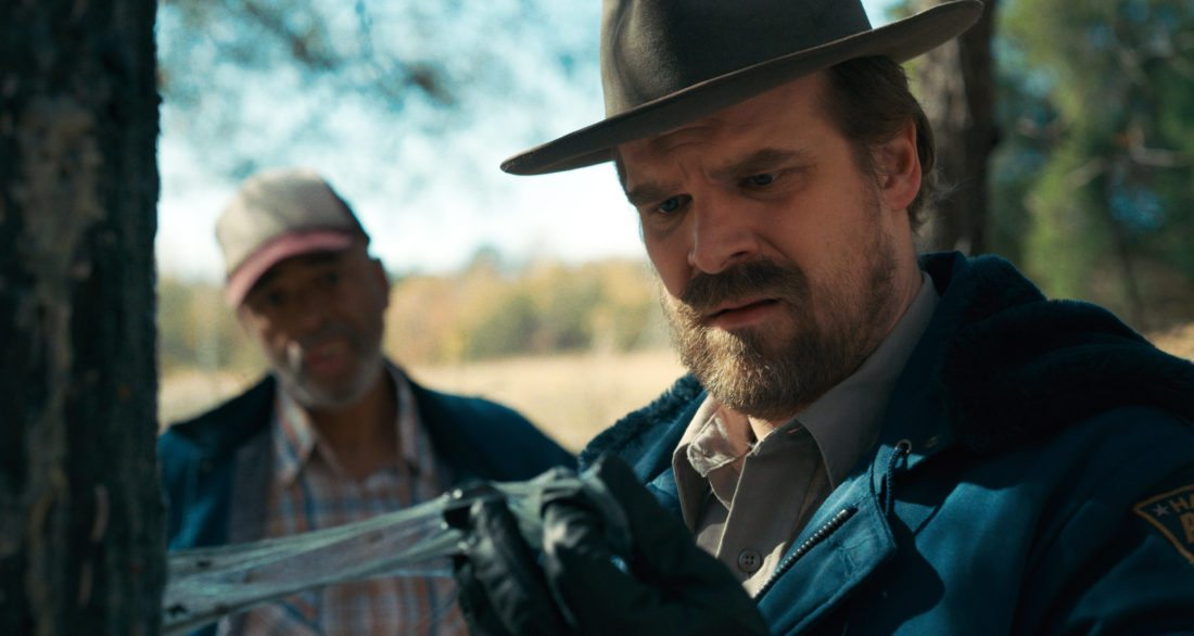 """This image released by Netflix shows David Harbour in a scene from """"Stranger Things,"""" premiering its second season on Friday. (Netflix via AP)"""