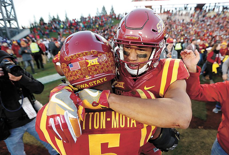 AP PHOTO • Iowa State wide receiver Allen Lazard, right, celebrates with Kamari Cotton-Moya after the Cyclones defeated TCU 14-7 Saturday in Ames.