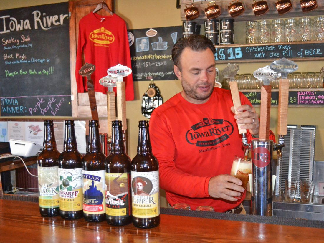 T-R PHOTO BY SARA JORDAN-HEINTZ Roger Brown, owner of Iowa River Brewing Company in Marshalltown, has recently started offering five of his brews in bottled form. He will hold a free beer tasting of these products on Saturday, Dec. 2 from 12-5 p.m.