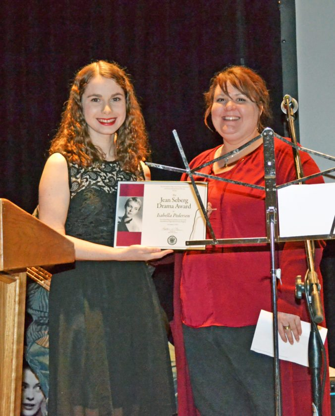 As is tradition, the Jean Seberg Drama Award was presented, sponsored by the Marshalltown High School Drama Department and the festival. This year's recipient is 2017 MHS grad and current Marshalltown Community College freshman, Isabella Pedersen, left, pictured with MHS instructor Heather Lee, right