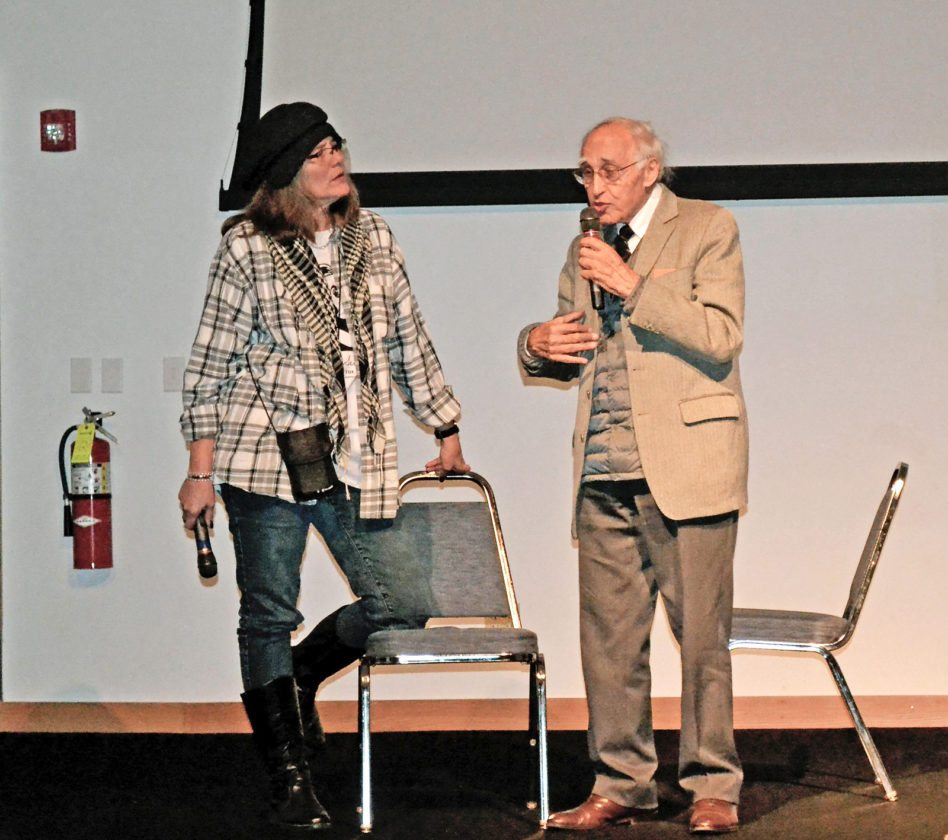 """After the screening of the French Seberg film """"Diamonds are Brittle,"""" the movie's director, Nicolas Gessner, right, discussed his feelings about the motion picture, and thoughts about Seberg. Nancy Adams, left, helped coordinate this festival, along with a legion of volunteers"""