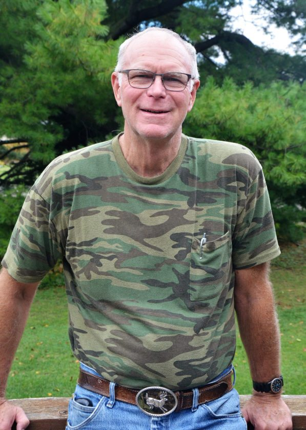 T-R PHOTO BY CHUCK FRIEND Marshall County veteran Garry Brandenburg of Albion poses on the deck of his home as he recalls his time in military service from 1963-67 with the U.S. Air Force.