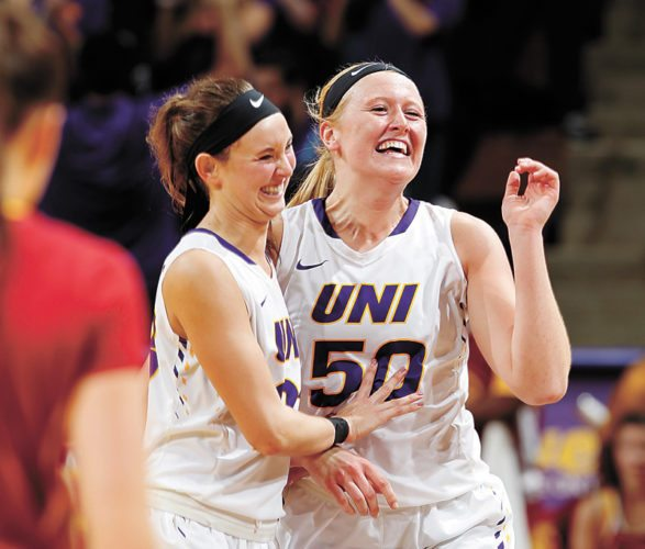AP PHOTO • Northern Iowa's Kennedy Kirkpatrick, left, and Megan Maahs (50) celebrate the team's win over Iowa State during a women's college basketball game Tuesday at the McLeod Center in Cedar Falls.