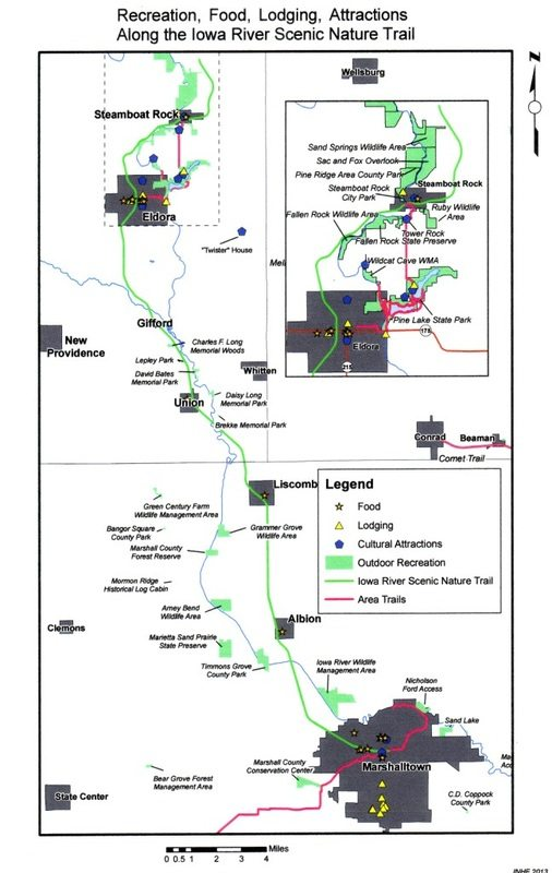 Pictured is the Iowa River Scenic Nature Trail route from Marshalltown to Steamboat Rock. A committee of Hardin and Marshall County residents have been working aggressively over the years to develop the paved, multi-purpose, 34-mile trail.