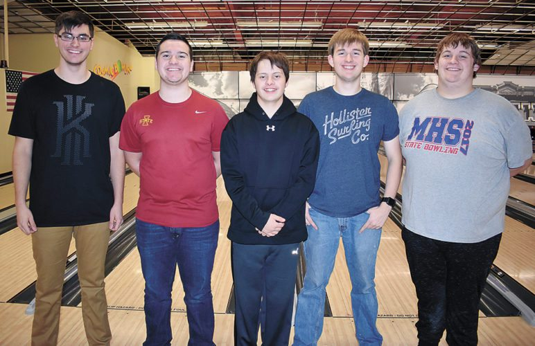 T-R PHOTO BY THORN COMPTON • Five athletes from last season's second-place finish at state for Marshalltown bowling return for the 2017-18 campaign. Pictured are, from left: senior Richie Thomas, junior Kamrin Chizek, junior Ray Wiegand, senior Joshua Arment and junior Carson Potter.