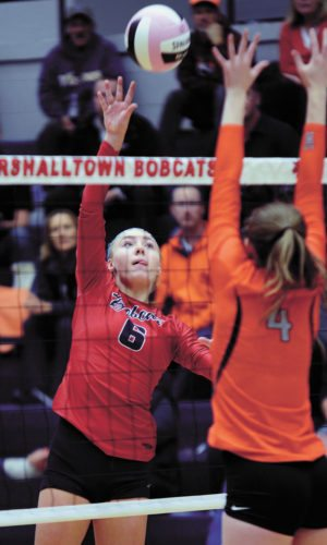 T-R FILE PHOTO • Marshalltown senior outside hitter Regan Mazour (6) goes up for the attack against Ames during the Bobcats' Class 5A regional opener Oct. 24 at the Roundhouse. Mazour was named all-state and all-district for the third year in a row.