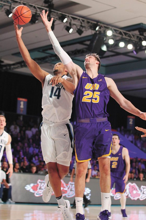 AP PHOTO • Villanova's Omari Spellman (14) and Northern Iowa's Bennett Koch (25) battle for a rebound during Friday's title game of the Battle 4 Atlantis tournament in Paradise Island, Bahamas.