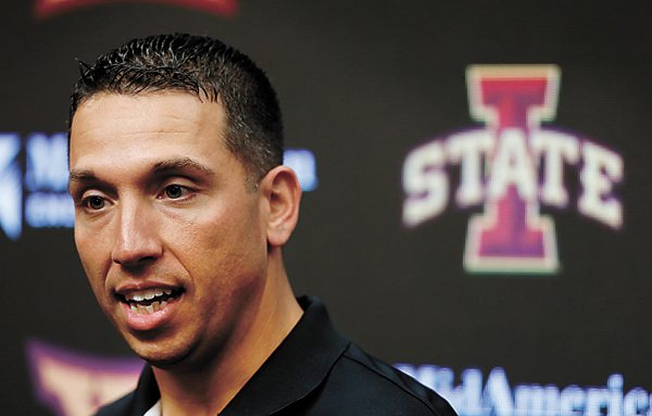 AP FILE PHOTO • Iowa State head football coach Matt Campbell speaks during his weekly news conference Oct. 23 in Ames. The 37-year-old coach signed a contract extension worth $22.5 million over six years.