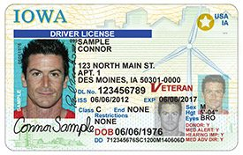 This is a sample copy of how a REAL-ID marked Iowa driver's license looks. Note the gold star in the upper right hand corner of the license designating it as a REAL ID, necessary for use if Iowans wish to travel on commercial airlines after October of 2020.