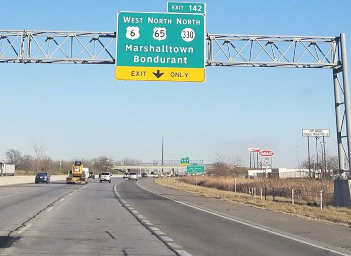 """CONTRIBUTED PHOTO For the first time in five years, """"Marshalltown"""" has returned to a sign on eastbound U.S. Interstate 80 where it exits to U.S. Highway 65/Iowa Highway 330, further connecting Marshalltown to the Des Moines metro area."""