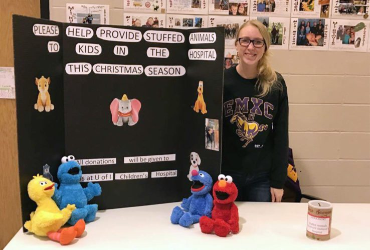 CONTRIBUTED PHOTO East Marshall High School junior Melinda Puumala is working to ensure as many children at University of Iowa Stead Children's Hospital as possible get a stuffed animal this holiday season. Her booth will be set up at Miller Middle School from 8 a.m. to 4 p.m. Saturday, Dec. 9, to collect donations during Upward basketball activities.