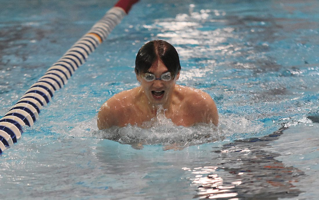 T-R PHOTO BY THORN COMPTON Marshalltown's Blaine Gunderson competes in the 2x100-yard breaststroke in Saturday's Bobcat Invite. Gunderson held off two other competitors to give the Bobcats third in the race.