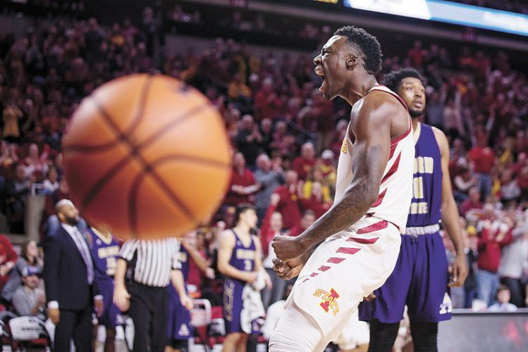 AP PHOTO • Iowa State's Cameron Lard celebrates after dunking against Alcorn State in the first half of a college basketball game Sunday at Hilton Coliseum in Ames.
