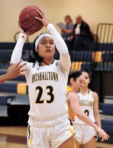 T-R PHOTO BY THORN COMPTON • Marshalltown Community College sophomore Loralei Siliga goes up for a shot during the first half of the Tigers' loss to Iowa Lakes on Wednesday. Siliga scored a game-high 26 points.