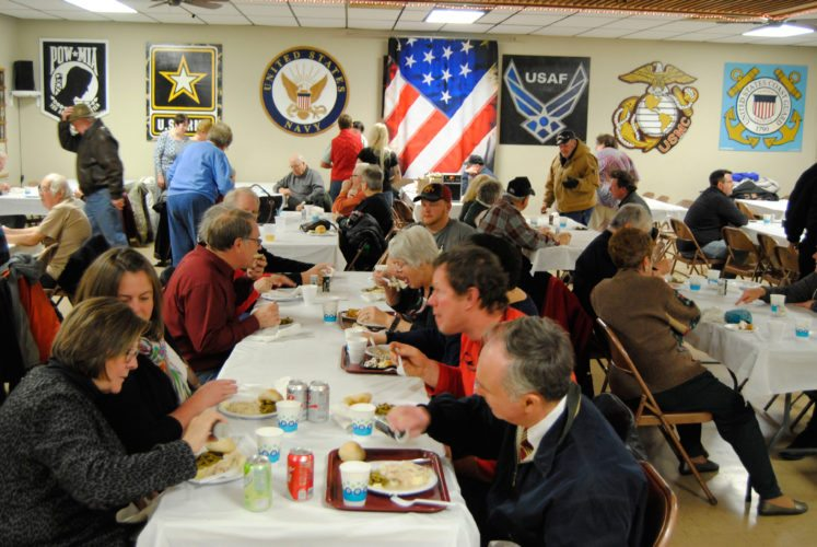 A large crowd filled the             American Legion headquarters in Marshalltown Friday night as hungry patrons lined up for homemade turkey and noodles. The event, sponsored by the American Legion Riders Post 46, proved so popular, that       diners had to get there early  because the turkey and noodles disappeared quickly. The Riders plan more monthly dinners and events throughout the winter and early spring