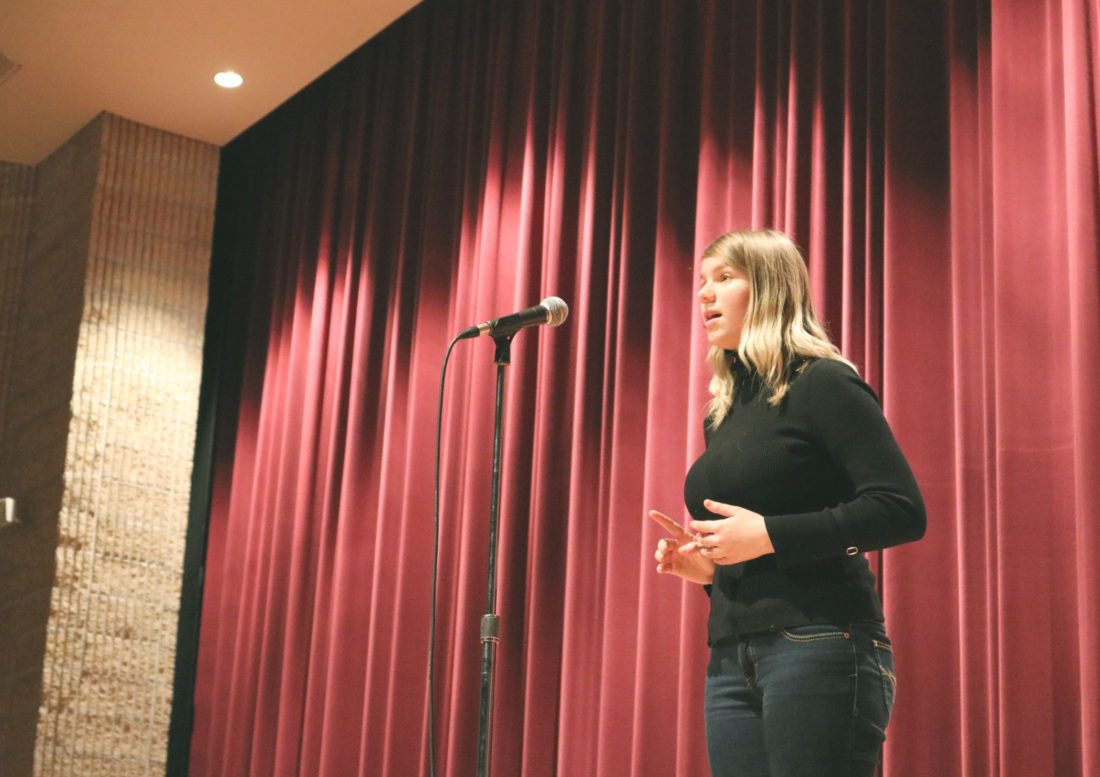 "Marshalltown High School freshman Olivia Adams-Zmolek was declared the winner of Monday's Poetry Out Loud contest at the Community Auditorium. She recited ""The Owl"" by Edward Thomas and ""It was not Death, for I stood up, (355)"" by Emily Dickinson; MHS students Uriel Campos-Padilla, Alex Stansberry, Eve Nettesheim, Luke Pedersen, Phoebe Osgood, Victor Zavala-Livengood and Zyrus Whitehead also showcased their poetry skills. Adams-Zmolek will participate in the Iowa Poetry Out Loud State Finals Contest on March 4 in Des Moines."
