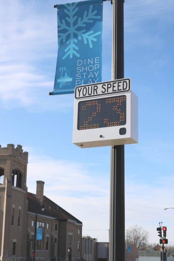 T-R PHOTO BY ADAM SODDERS Drivers heading west on Church Street in downtown Marshalltown may notice an indicator flashing their speed if they are going over 20 mph; the indicator is located at the corner of Church Street and North Center Street. It was installed by the city at the request of a U.S. Postal Service delegation in response to postal worker Amy Sanders' death in a collision at the intersection.