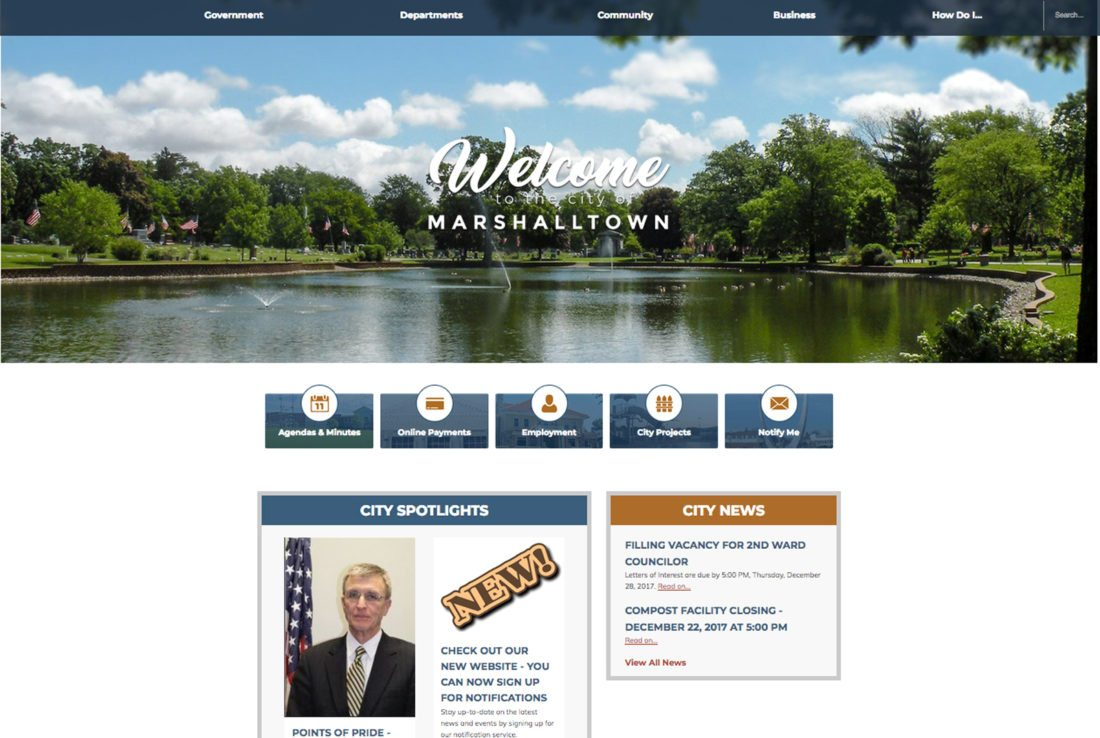 CONTRIBUTED PHOTO The new city of Marshalltown website launched Thursday, and brings a modern look to the city's online presence. It can be found at marshalltown-ia.gov.