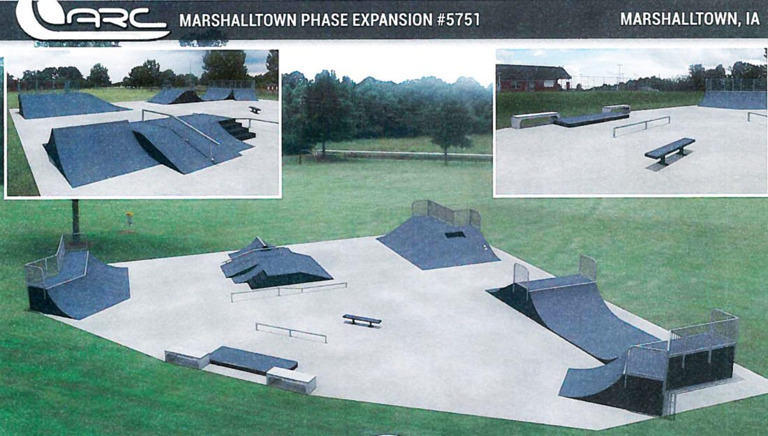 CONTRIBUTED GRAPHIC The Marshalltown Skate Park, located at 821 S. 6th St., is about to get a facelift. The Parks and Rec Advisory Board, in collaboration with other local entities, is working to design and raise funds to make the project a reality. Pictured is a preliminary sketch of the additions, which will include: a jump box, grind rails, a grind box, skate benches, quarter pipes, a pyramid corner, a bank ramp, and a 125-foot-long pump track made into a parks and rec complex, if and when the needed funding is secured. The project is set to begin in summer 2018.
