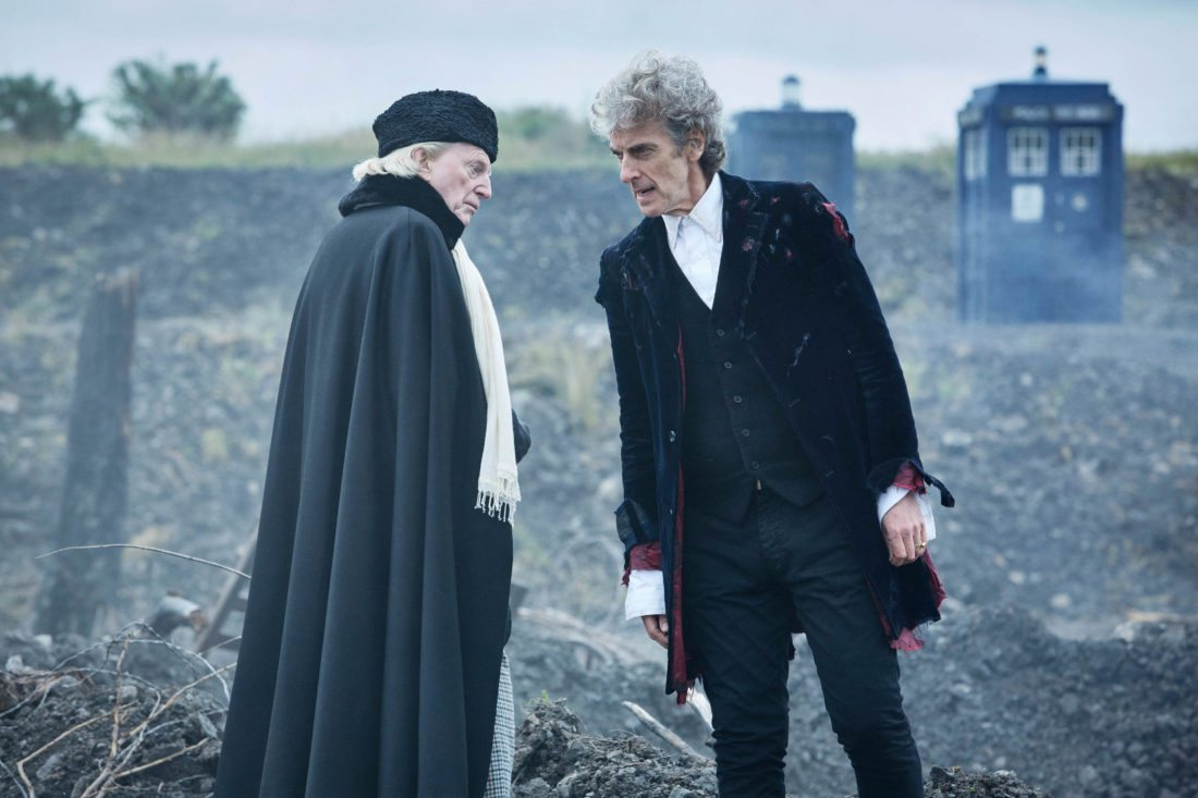 """In this undated handout photo, actors David Bradley and Peter Capaldi in a scene from the Christmas episode of the show """"Doctor Who"""". The global success of the venerable sci-fi series means that fans around the world will also tune in Saturday to watch Peter Capaldi's final adventure as the space-hopping Time Lord known as the Doctor. (Simon Ridgway/ BBC Worlwide Limited via AP)"""