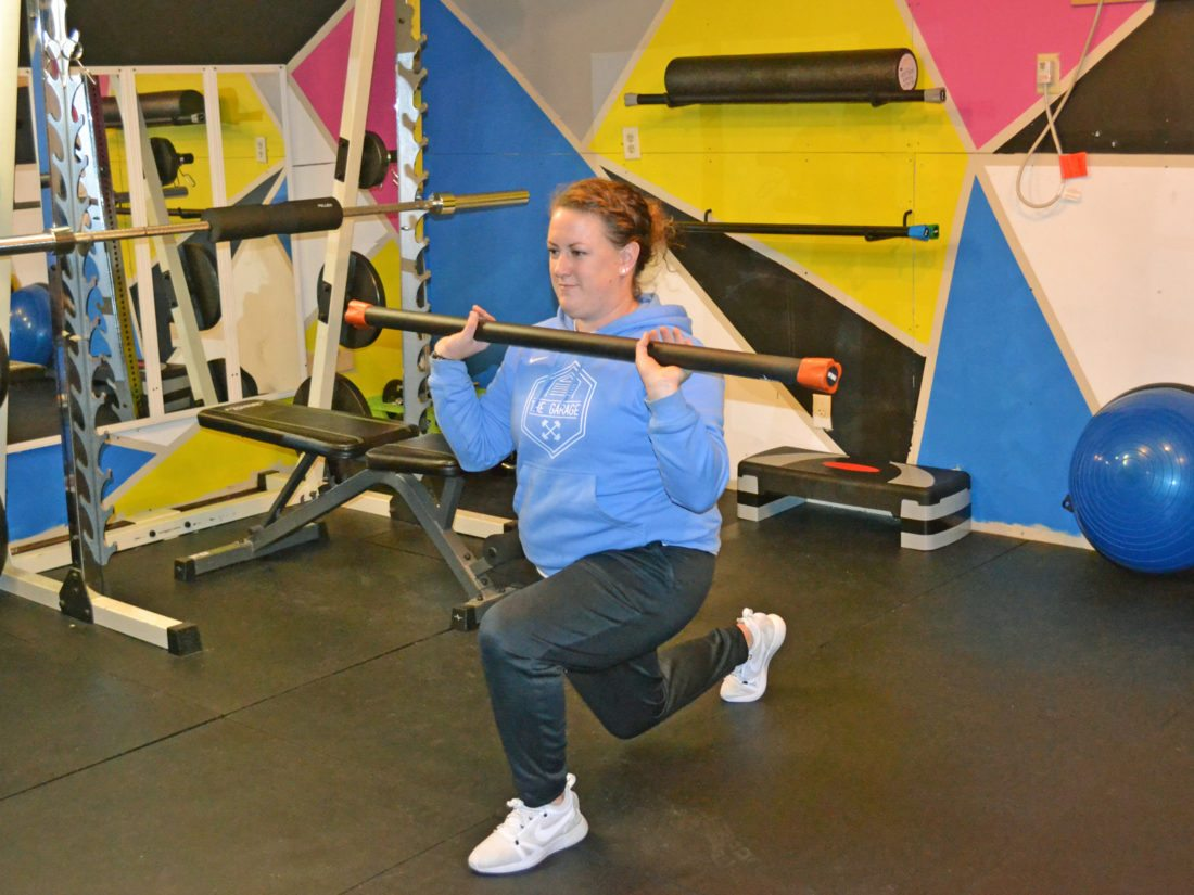 """T-R PHOTO BY SARA JORDAN-HEINTZ Sarah Murphy recently opened the Garage, a """"fitness boot camp"""" gym, operated out of the large garage behind her property, located at 2606 Hilltop Dr. She offers 10-week long sessions, with workouts that can be modified."""