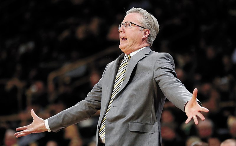 AP PHOTO • Iowa head coach Fran McCaffery reacts to a call against his team during the first half of a Big Ten Conference basketball game against Michigan, Tuesday at Carver-Hawkeye Arena in Iowa City.