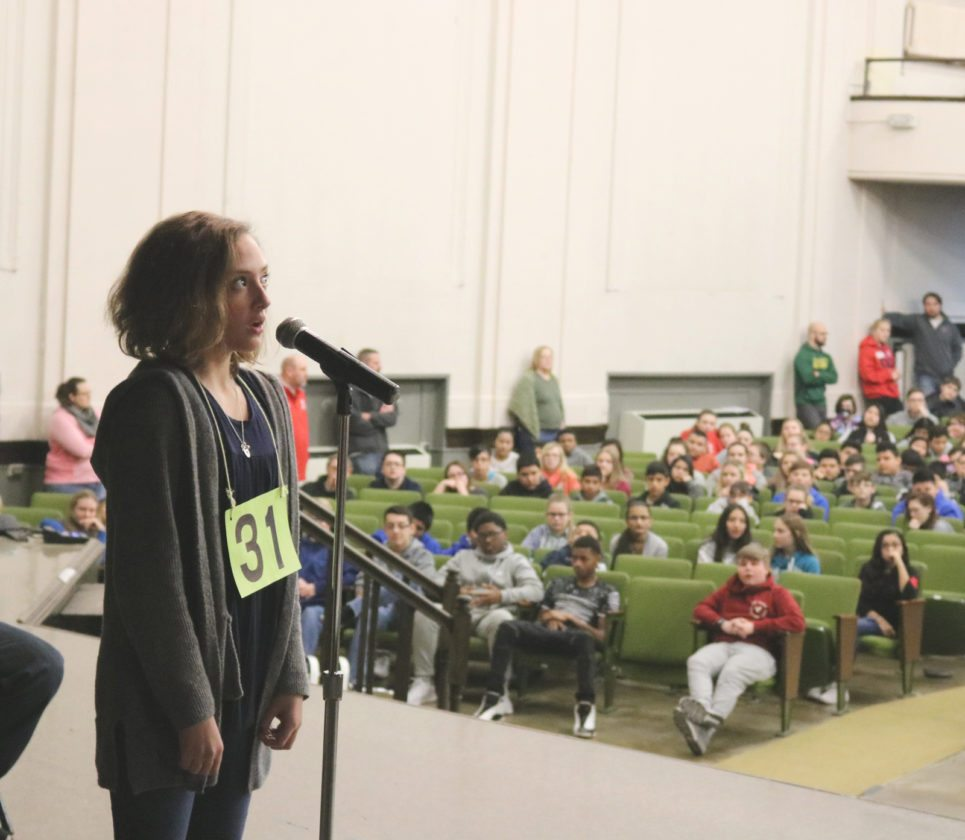 Eighth-grader Phoebe Hermanson won first place out of 25 finalists at the Miller Middle School Spelling Bee Friday morning. In doing so, she punched her ticket to the state spelling bee at Augustana College in on Feb. 21.