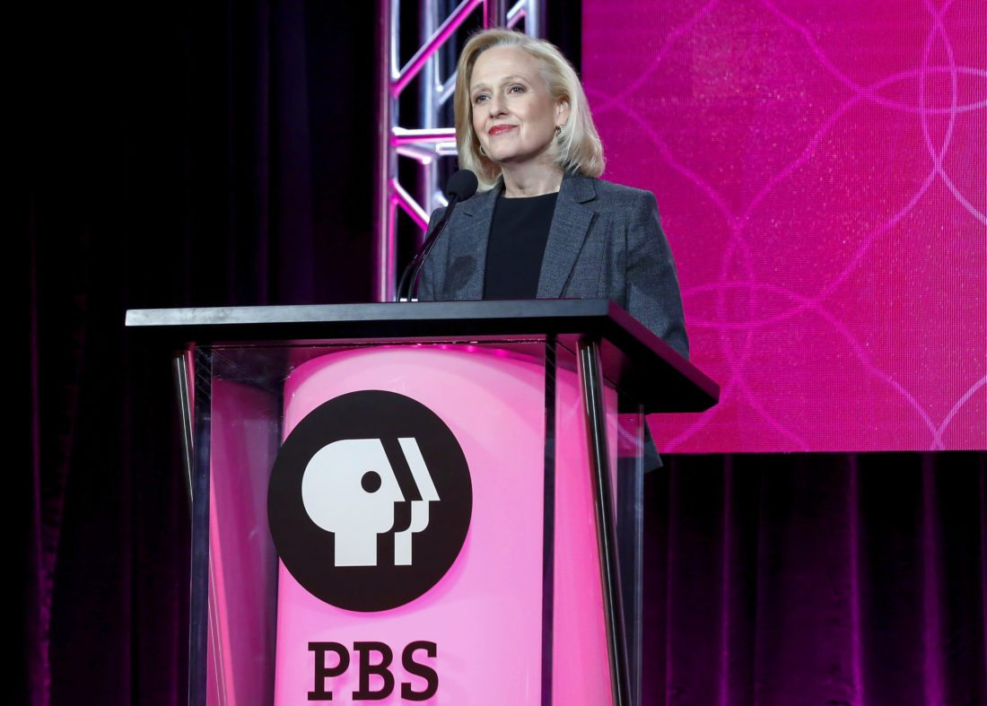 """FILE - In this Jan. 15, 2017 file photo, President and CEO Paula Kerger speaks at the PBS's Executive Session at the 2017 Television Critics Association press tour in Pasadena, Calif. PBS, which dealt with sexual misconduct allegations in its own backyard, will air a series examining the pressing social issue. The five-part series, """"#MeToo, Now What?"""" will address how we got here and how """"we can use this moment to effect positive and lasting change,"""" Kerger said Tuesday, Jan. 16, 2018. (Photo by Willy Sanjuan/Invision/AP, File)"""