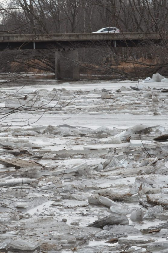PHOTO BY GARRY BRANDENBURG  Ice breakup on the Iowa River is or has happened just about everywhere along the 29 miles of its travel through Marshall County. Recent warm weather assisted in weakening the ice, which was followed by one inch of rain last Monday. Now this week's January thaw warm air has completed the breakup of river ice. Withlots of winter still to come, a new cold spell of weather could cause new ice to form again.  Only Mother Nature knows her next moves on this issue.