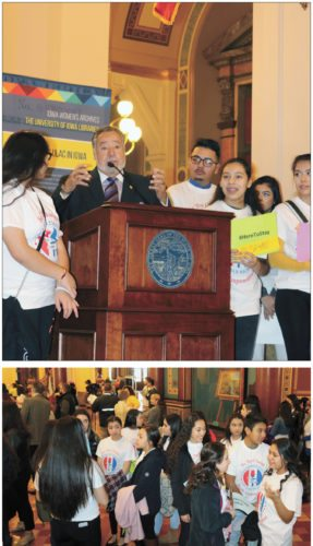 T-R PHOTOS BY ADAM SODDERS ABOVE: Marshalltown resident and former U.S. Special Ambassador to Latin America Carlos Portes was among the main speakers at the  first Iowa Latino Day on the Hill event Thursday at the State Capitol Building in Des Moines. He described his journey as a boy from Cuba to Florida to Marshalltown, and encouraged the youth in attendance to follow their dreams. BELOW:About 30 students from Marshalltown Schools attended the event. The group consisted of Miller Middle School and Marshalltown High School students, all part of the district's Al Éxito Latino-focused student organization.