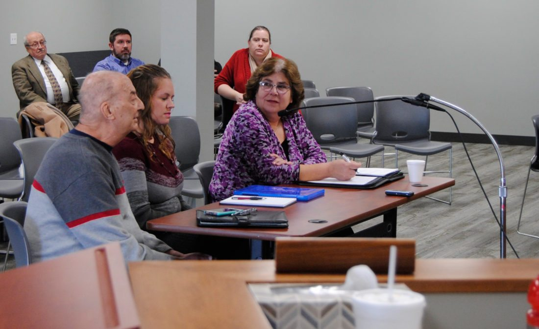 From this Jan. 6 photo, second ward city councilor applicants, from left, Jay Carollo, Brittany O'Shea and Leigh Bauder answer questions during an interview session with members of the Marshalltown City Council earlier this month.Applicant Bob Untied  was out on town on business, participated via phone. All four have announced their candidacy for the seat to be resolved by the Feb. 27 special election.