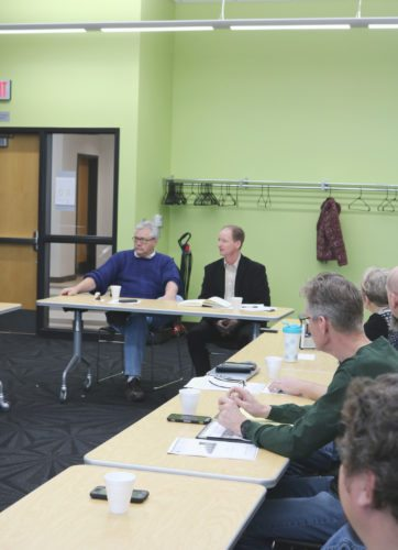 State House Minority Leader Rep. Mark Smith, D-Marshalltown, left, and state Sen. Jeff Edler, R-State Center, answered a variety of questions at the Marshalltown Education Association legislative forum Saturday morning. Smith and Edler discussed the state budget situation, the SAVE sales tax, state supplemental aid to schools and more