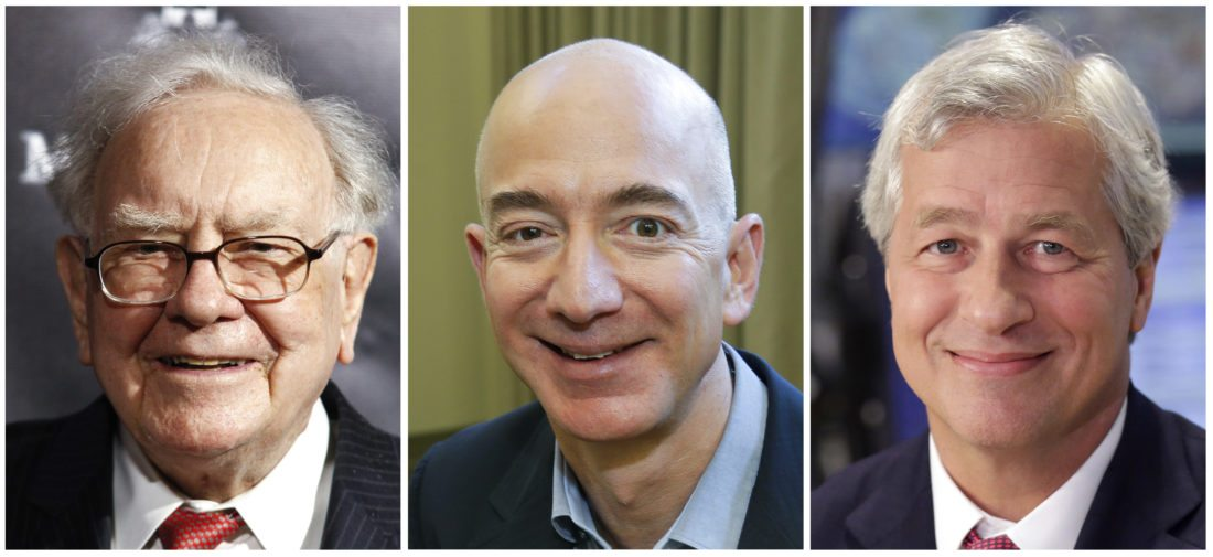 """This combination of photos from left shows Warren Buffett on Sept. 19, 2017, in New York, Jeff Bezos, CEO of Amazon.com, on Sept. 24, 2013, in Seattle and JP Morgan Chase Chairman and CEO Jamie Dimon on July 12, 2013, in New York. Buffett's Berkshire Hathaway, Amazon and the New York bank JPMorgan Chase are teaming up to create a health care company announced Tuesday, Jan. 30, 2018, that is """"free from profit-making incentives and constraints."""" (AP Photos)"""