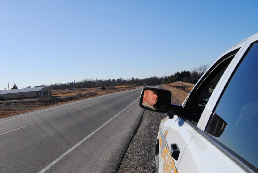 Sgt. Ben Veren with the Marshall County Sheriff's Office, monitors one of Marshall County's roadways, during a recent patrol effort. In 2017, 12 traffic fatalities occurred within the county. Veren and the rest of the sheriff's staff, are working to find ways to reduce that number this year and beyond