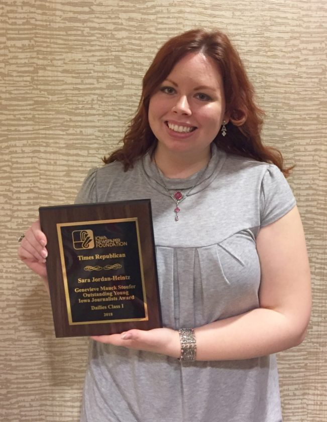 Sara Jordan-Heintz was one of three journalists statewide to win the Genevieve Mauck Stoufer Outstanding Young Iowa Jouranlist award at the 2018 Iowa Newspaper Association's Better Newspaper Contest and awards ceremony.