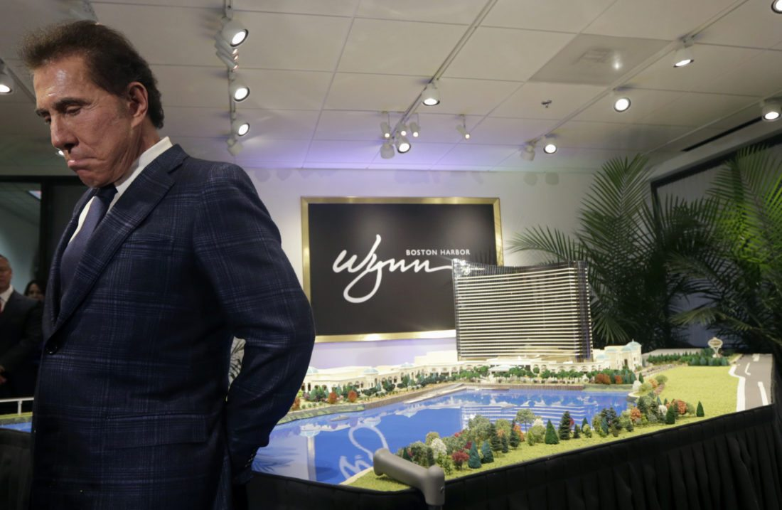 FILE- This March 15, 2016, file photo shows casino mogul Steve Wynn during a news conference in Medford, Mass. Facing investigations by gambling regulators and allegations of sexual misconduct, Wynn has stepped down as chairman and CEO of the resorts bearing his names. The Las Vegas-based Wynn Resorts in a statement said Wynn's resignation Tuesday, Feb. 6, 2018, was effective immediately. Wynn has vehemently denied the report's allegations. (AP Photo/Charles Krupa, File)