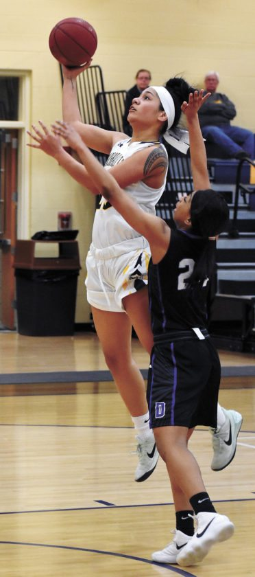 T-R PHOTO BY THORN COMPTON • Marshalltown Community College sophomore Loralei Siliga, left, goes strong to the basket against DMACC's Deja Davis during the Tigers' 65-55 loss to the Bears at home on Wednesday night.