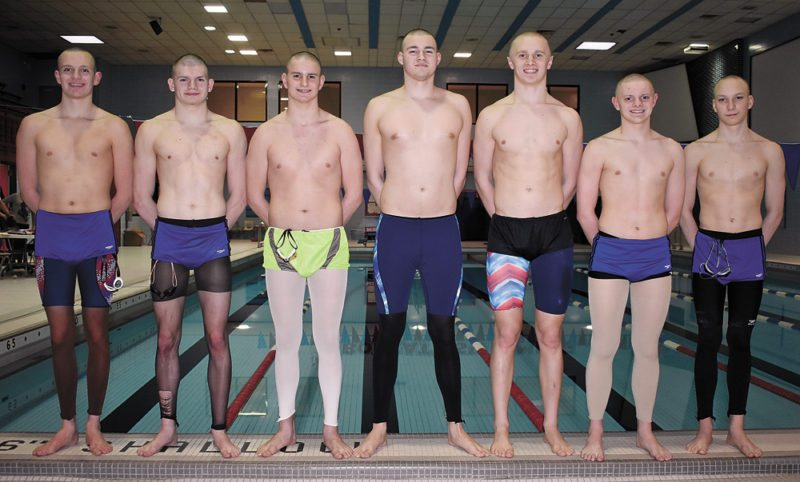 T-R PHOTO BY THORN COMPTON • Seven Marshalltown boys are representing the Bobcats at the 2018 IHSAA State Swimming Meet in Iowa City on Saturday. Pictured are, from left, Chris Streets, Ryne Downey, Carson Beals, Gage Petty, Brad Barkema, Caleb Summers and Nash Perisho.