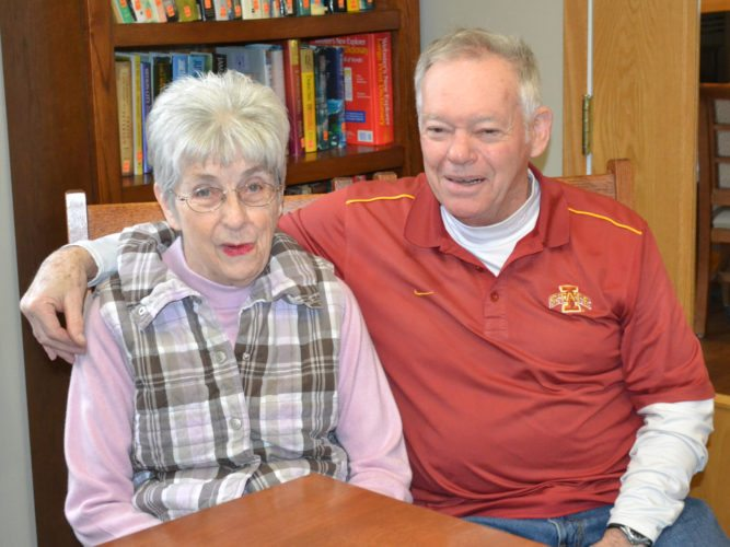 T-R PHOTO BY SARA JORDAN-HEINTZ Mary and John Page of Marshalltown have been married for nearly 53 years. Mary, a resident of Glenwood Place, has suffered from dementia for the past eight years. John, who visits her everyday, said he takes their life together one day at a time.