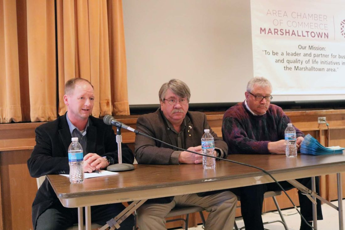 Three area lawmakers discussed current issues and answered questions at the Marshalltown Area Chamber of Commerce Legislative Forum Friday afternoon in the Fisher Community Center auditorium. From left: State Sen. Jeff Edler, R-State Center; state Rep. Dean Fisher, R-Montour; state House Minority Leader Rep. Mark Smith, D-Marshalltown.
