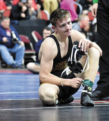 T-R PHOTO BY THORN COMPTON • West Marshall senior 126-pounder Hunter Pfantz reacts after his 13-1 loss by major decision to Kole Hansen of Atlantic/CAM in their consolation second-round match on Friday at Wells Fargo Arena in Des Moines. Pfantz ended his senior campaign with a 40-8 record.